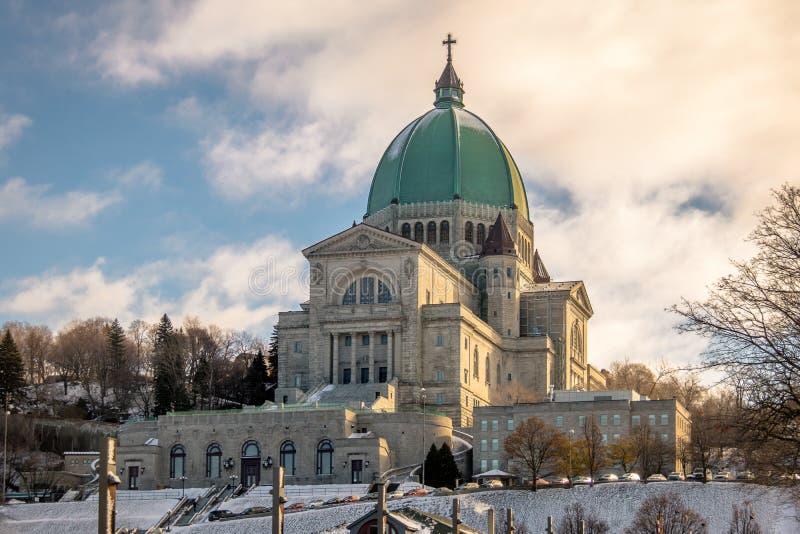 Świętego Joseph krasomówstwo z śniegiem - Montreal, Quebec, Kanada obrazy stock