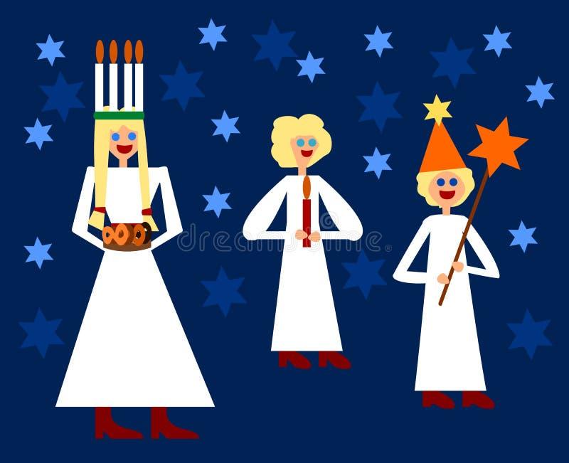 Świętego Lucia północnych bożych narodzeń tradycyjna postać royalty ilustracja
