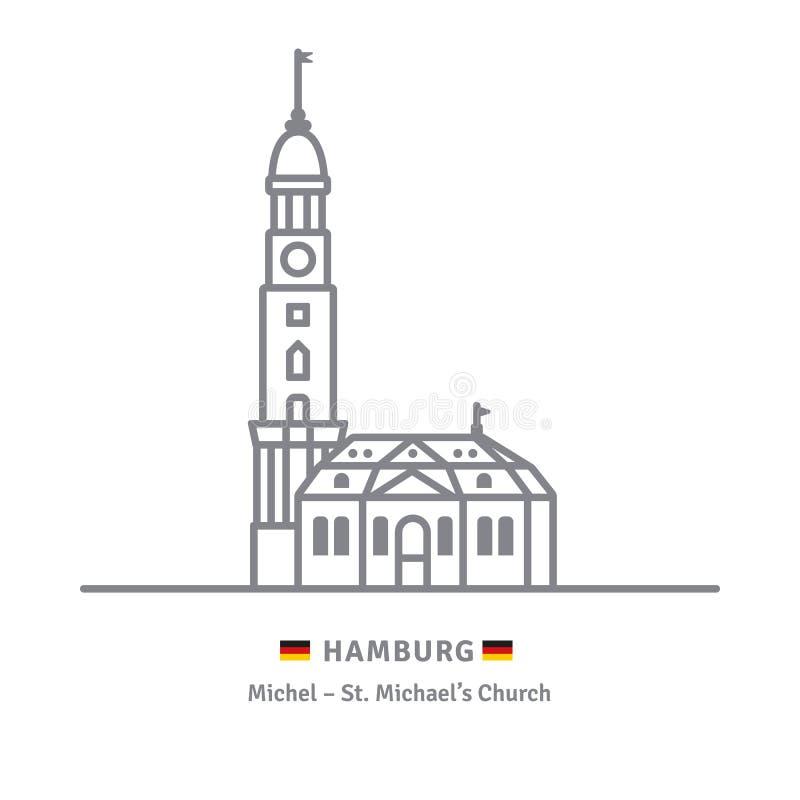 Świętego Michaels kościół przy Hamburg, Niemcy ilustracji