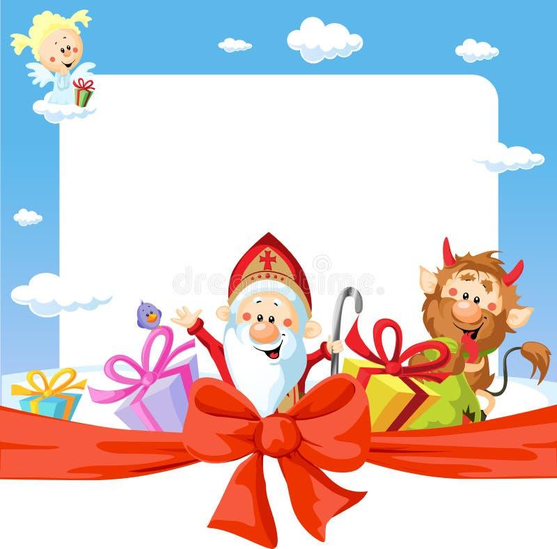 Świętego Nicholas rama - śmieszny wektorowy tło royalty ilustracja
