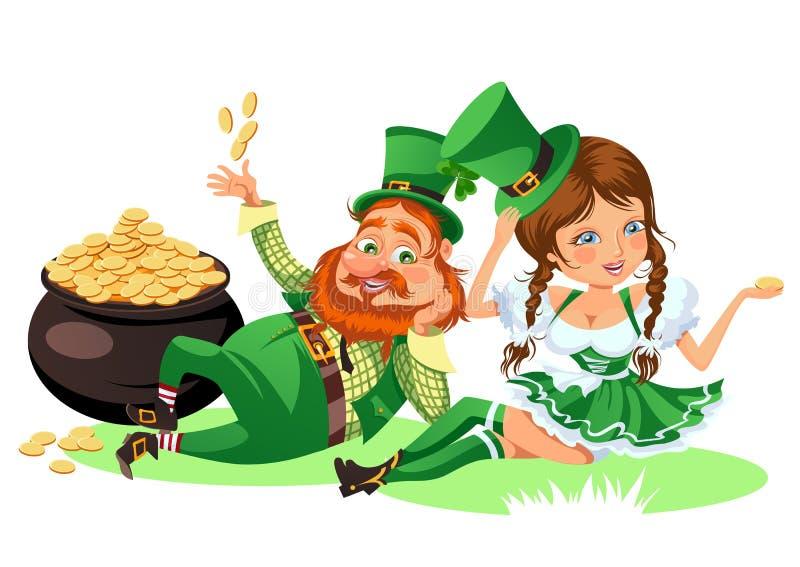 Świętego Patrick dnia charaktery, leprechaun i dziewczyna z kubkiem zielony piwo, szklany pełny alkoholu ale, pijący mężczyzna w  royalty ilustracja
