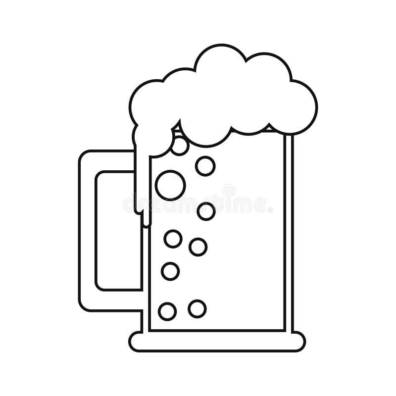 Świętego Patrick dnia kubek piwo piana gulgocze zimnego kontur royalty ilustracja