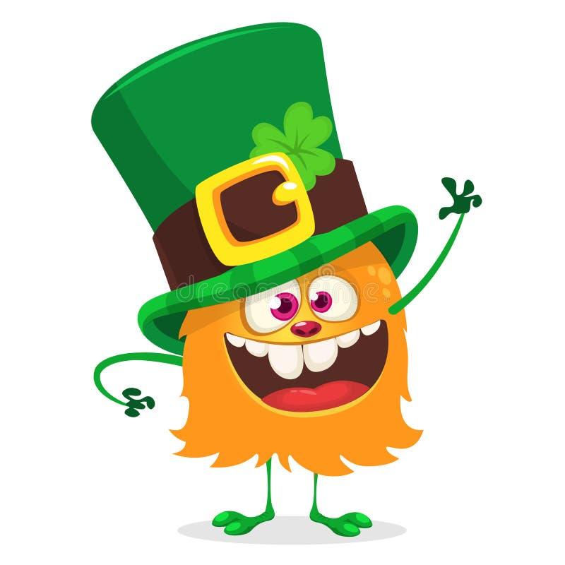 Świętego Patrick ` s dzień Śmieszny potwora leprechaun odosobniony obcy kreskówki kota ucieczek ilustraci dachu wektor ilustracji