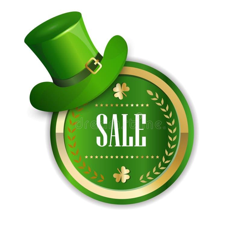 Świętego Patricks dnia sprzedaży majcher Dekorujący Z Zielony kapelusz Odizolowywającą Leprechaun Dyskontową etykietką ilustracji