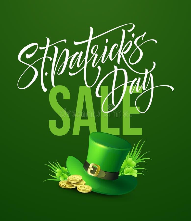 Świętego Patricks dnia sprzedaży plakat Literowanie sztandaru szablon również zwrócić corel ilustracji wektora ilustracji