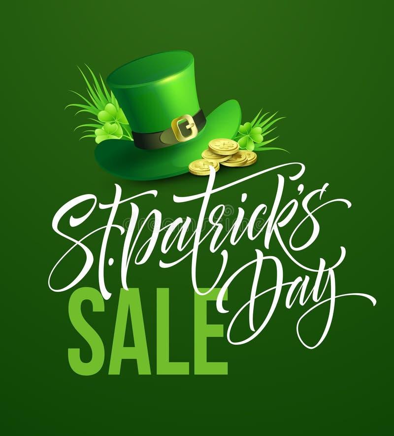 Świętego Patricks dnia sprzedaży plakat Literowanie sztandaru szablon również zwrócić corel ilustracji wektora ilustracja wektor
