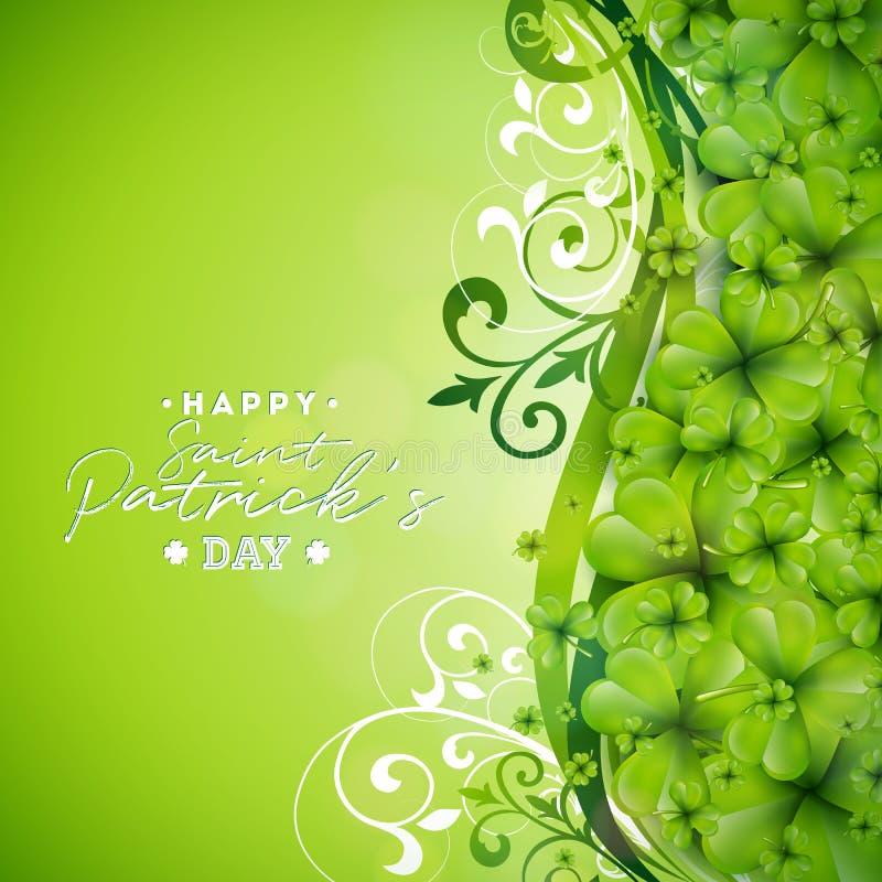 Świętego Patricks dnia tła projekt z Zielonym koniczyna liściem Irlandzka Szczęsliwa Wakacyjna Wektorowa ilustracja dla kartka z  ilustracja wektor
