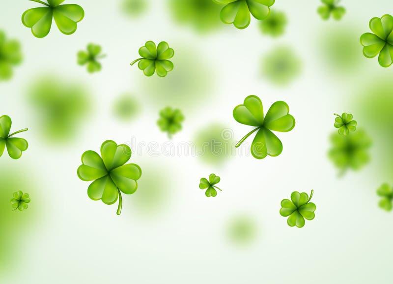 Świętego Patricks dnia tła projekt z Zielonym Spada koniczyna liściem Irlandzka Szczęsliwa Wakacyjna Wektorowa ilustracja dla ilustracja wektor