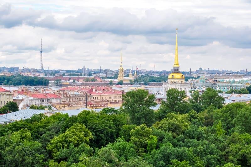 Świętego Petersburg linia horyzontu od St Isaac ` s katedry wierzchołka, Rosja zdjęcia royalty free