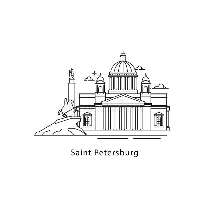 Świętego Petersburg logo odizolowywający na białym tle Świętego Petersburg s punktów zwrotnych kreskowa wektorowa ilustracja Podr ilustracja wektor