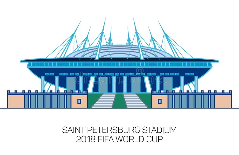 Świętego Petersburg stadium, Krestovsky stadium, Zenit arena, minimalny kreskowej sztuki styl royalty ilustracja