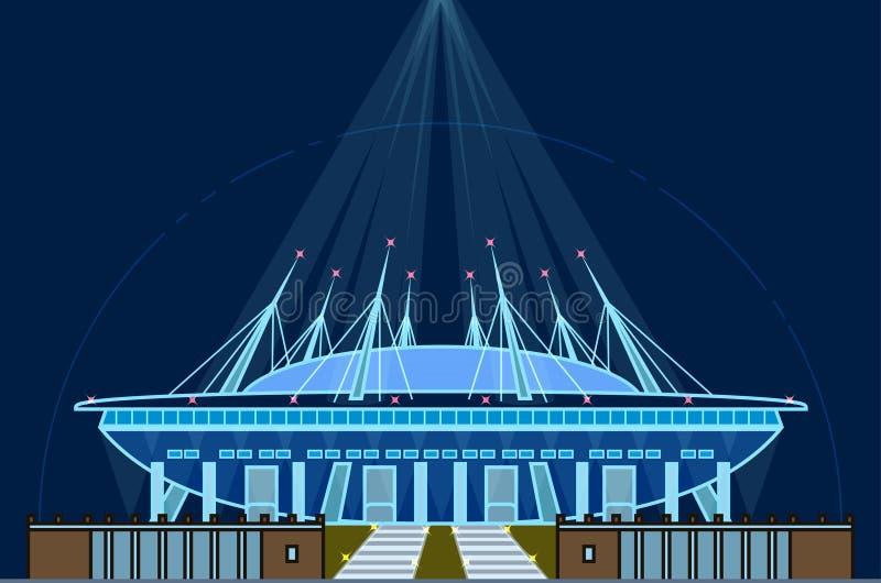 Świętego Petersburg stadium, Krestovsky stadium, Zenit arena, minimalny kreskowej sztuki styl, nocy oświetlenie ilustracja wektor