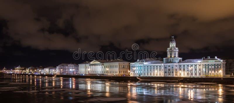 Świętego Petersburg zimy noc zdjęcie stock