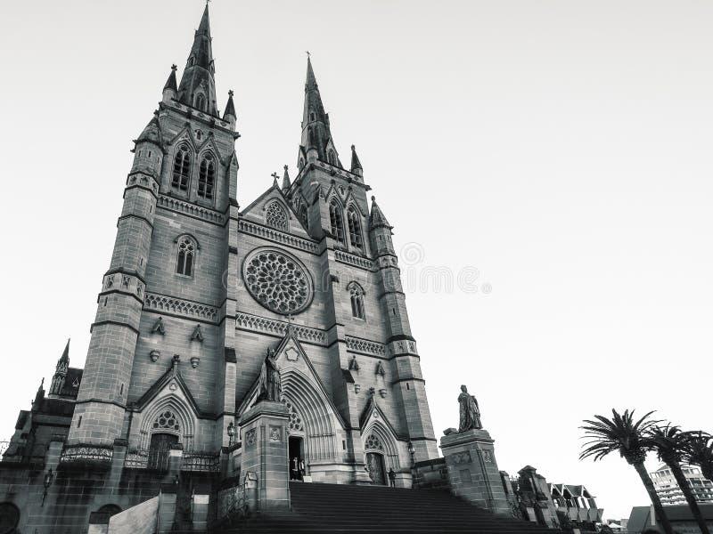 Świętego ` s Maryjna katedra w Sydney w Czarny I Biały obraz stock