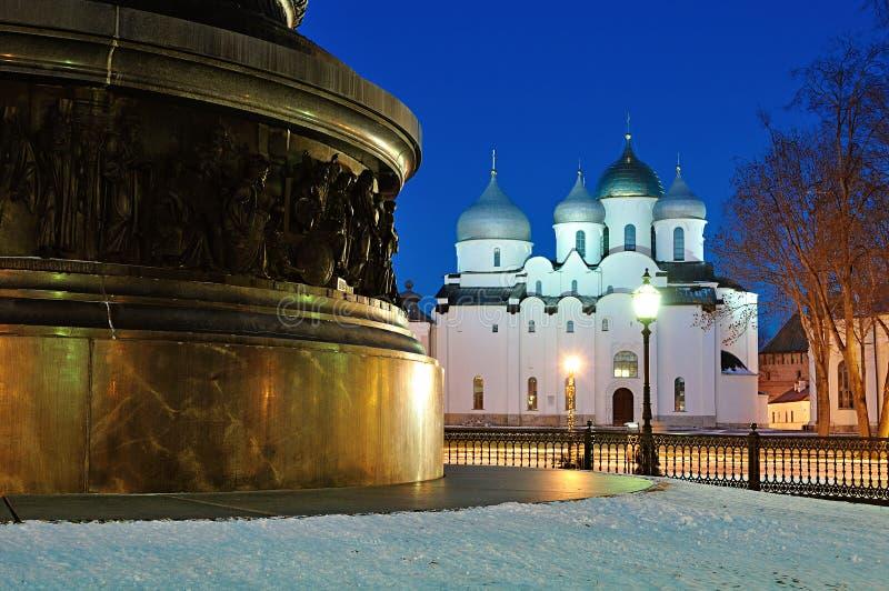 Świętego Sophia katedra i pomnikowy milenium Rosja w Veliky Novgorod, Rosja obrazy royalty free