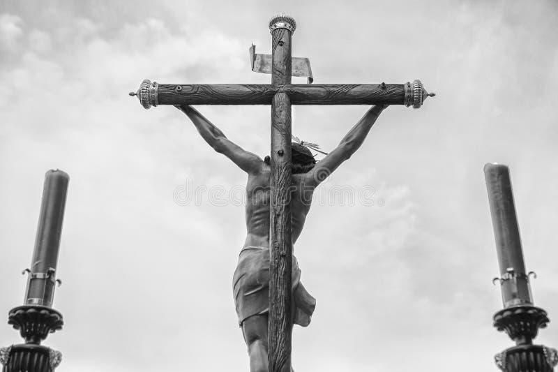 Świętego tygodnia Chrystus pławik nad chmurnym niebem, Hiszpania obrazy royalty free