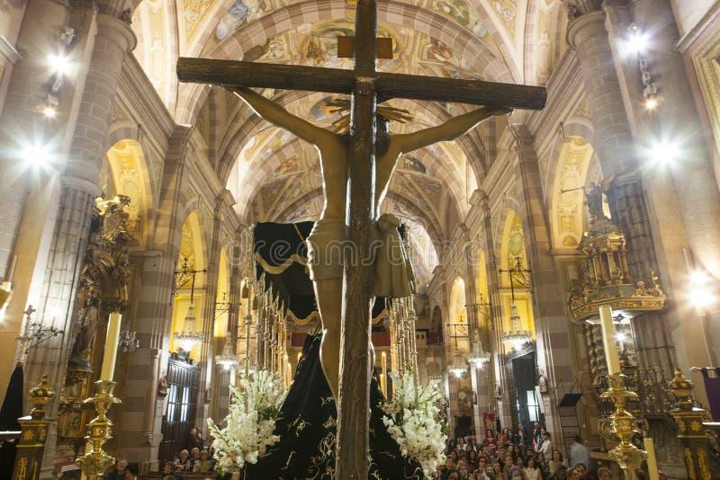 Świętego tygodnia Chrystus pławik wśrodku kościół, Hiszpania obraz royalty free
