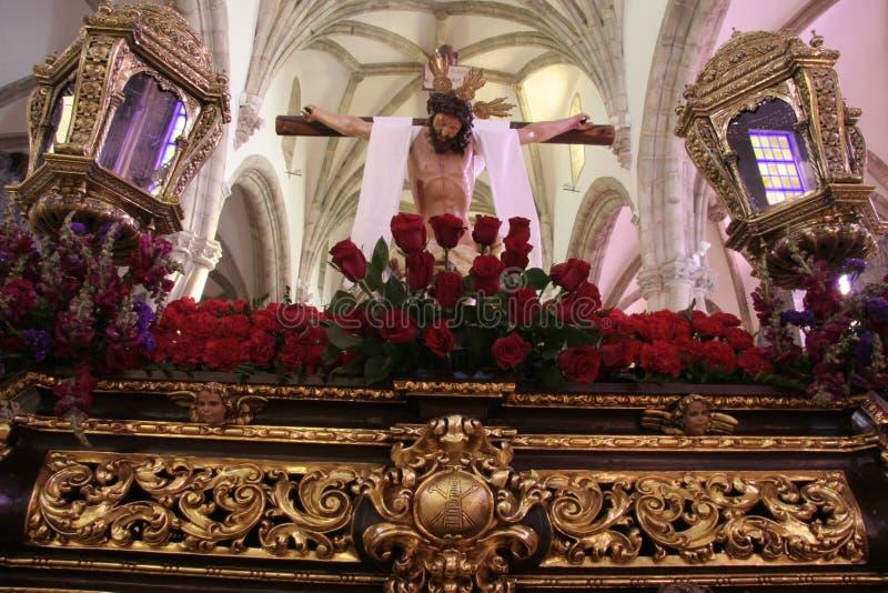 Świętego tygodnia pławik przy Świątobliwym Maryjnego Magdalene kościół, Olivenza obrazy stock