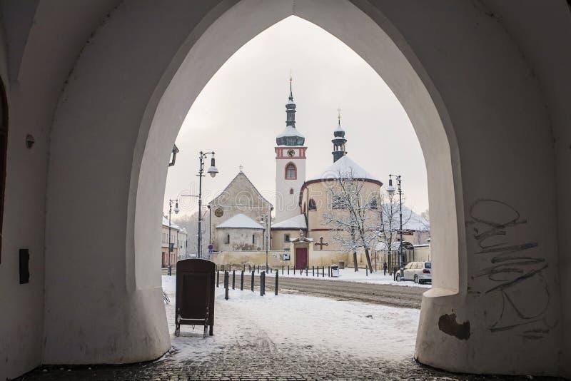 Świętego Wenceslas bazylika i St Kliment kościół Brandys nad Labem, Stara - Boleslav - obraz stock