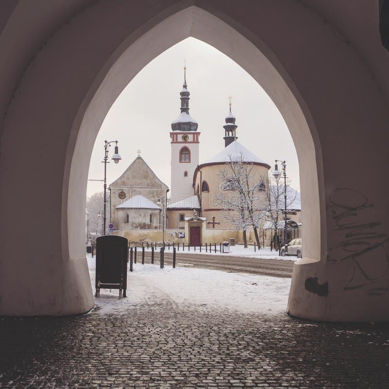 Świętego Wenceslas bazylika i St Kliment kościół Brandys nad Labem, Stara - Boleslav - fotografia stock