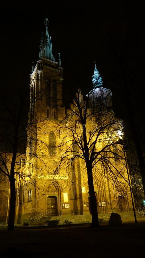 Świętego Wojciech katedra przy nocą zdjęcie royalty free