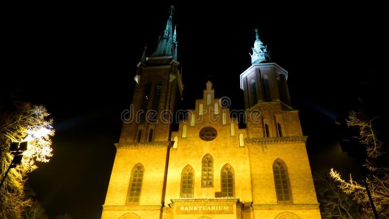Świętego Wojciech katedra przy nocą obrazy stock