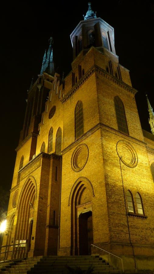Świętego Wojciech katedra przy nocą zdjęcia stock