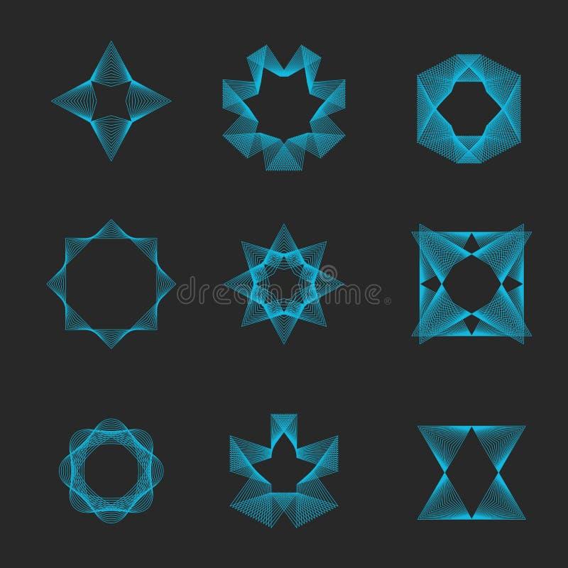Świętej geometrii ustalony logo, magiczny ezoteryczny kształta monogram, inkasowy tajemniczy złudzenie emblemat royalty ilustracja