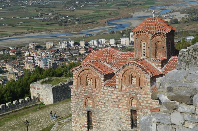Świętej trójcy kościół w Berat kasztelu, Albania zdjęcie stock