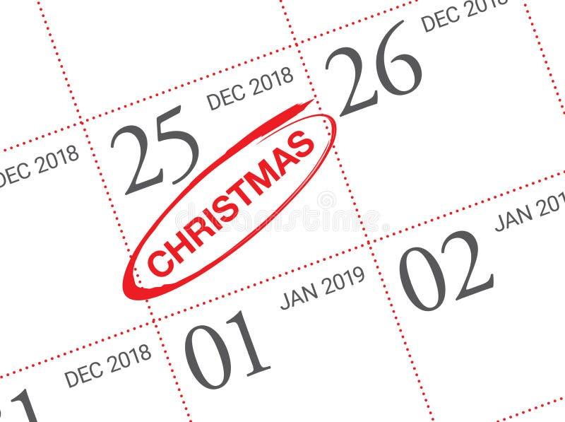 Święto Bożęgo Narodzenia kalendarz na dzienniczku zdjęcie royalty free