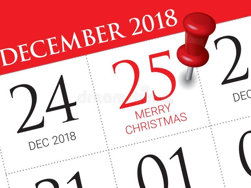 Święto Bożęgo Narodzenia kalendarz na dzienniczku fotografia stock