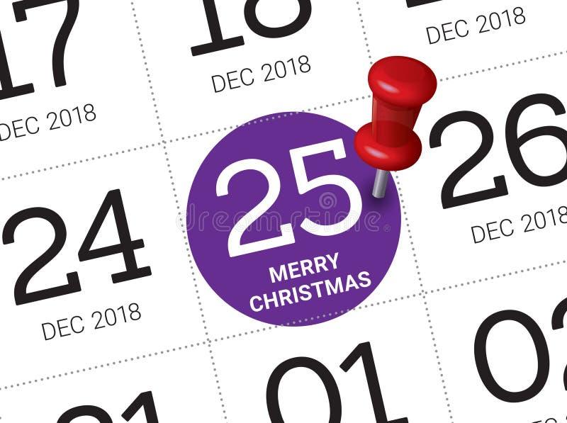Święto Bożęgo Narodzenia kalendarz na dzienniczku zdjęcie stock