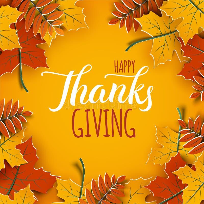 Święto Dziękczynienia sztandar z gratulacyjnym tekstem Jesieni drzewa liście na żółtym tle Jesienny projekt dla spadku sztandaru royalty ilustracja