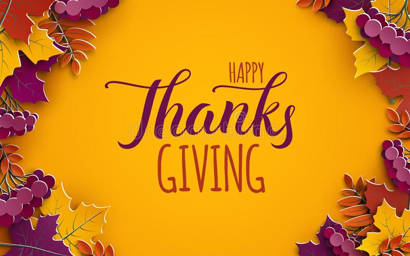 Święto Dziękczynienia sztandar z gratulacyjnym tekstem Jesieni drzewa liście na żółtym tle Projekt dla sezonu jesiennego sztandar royalty ilustracja