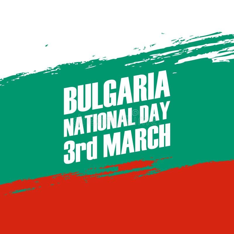 Święto Państwowe Bułgaria, 3rd Marzec, kartka z pozdrowieniami z szczotkarskim uderzeniem ilustracja wektor