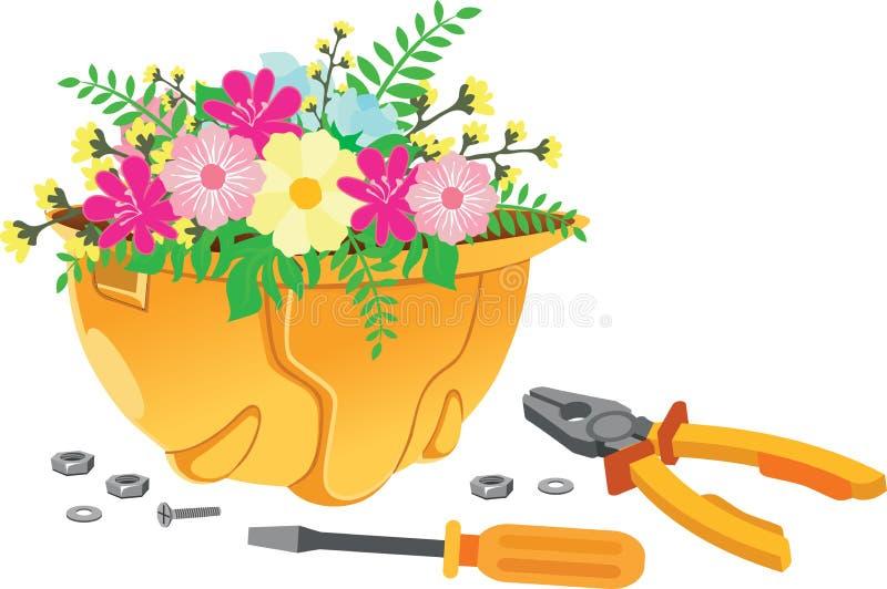 ?wi?to Pracy - kwiaty w he?mie ilustracja wektor