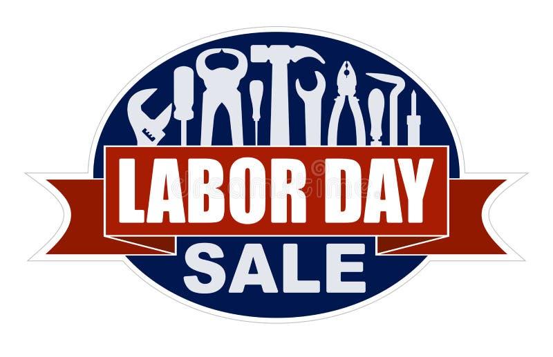Święto Pracy sprzedaży sztandar z sylwetkami pracownicy wytłacza wzory: młot, ilustracja wektor