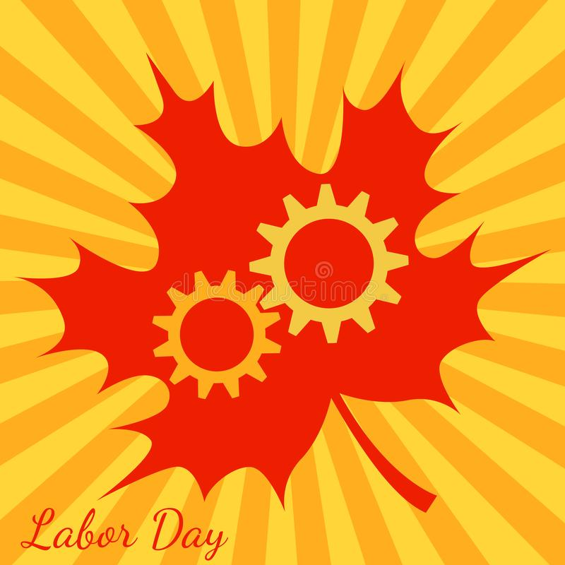 Święto Pracy w Kanada Przekładnie, liść klonowy Tło z żółtymi i pomarańczowymi promieniami od centrum ilustracja wektor