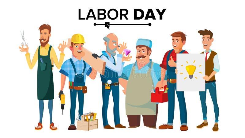 Święto Pracy wektor Grupa ludzi różni zawody Płaska postać z kreskówki ilustracja ilustracji