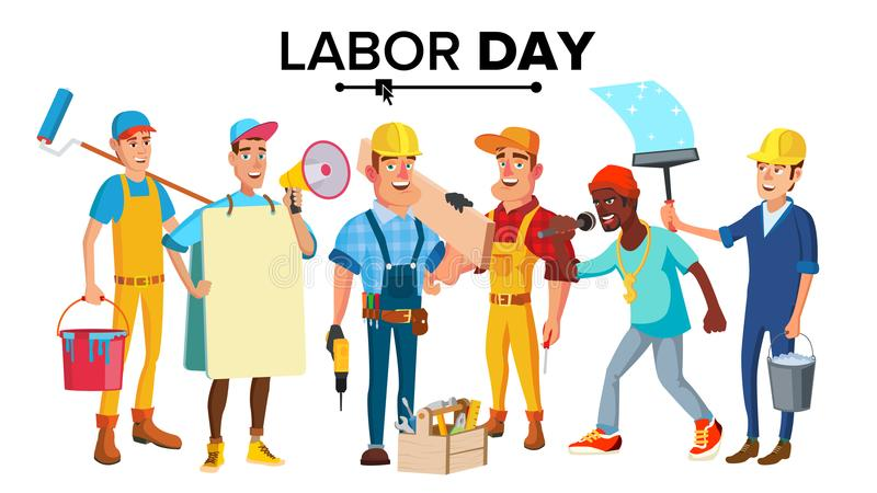 Święto Pracy wektor Nowożytni pracownicy Ustawiający Odosobniona Płaska charakter ilustracja ilustracja wektor