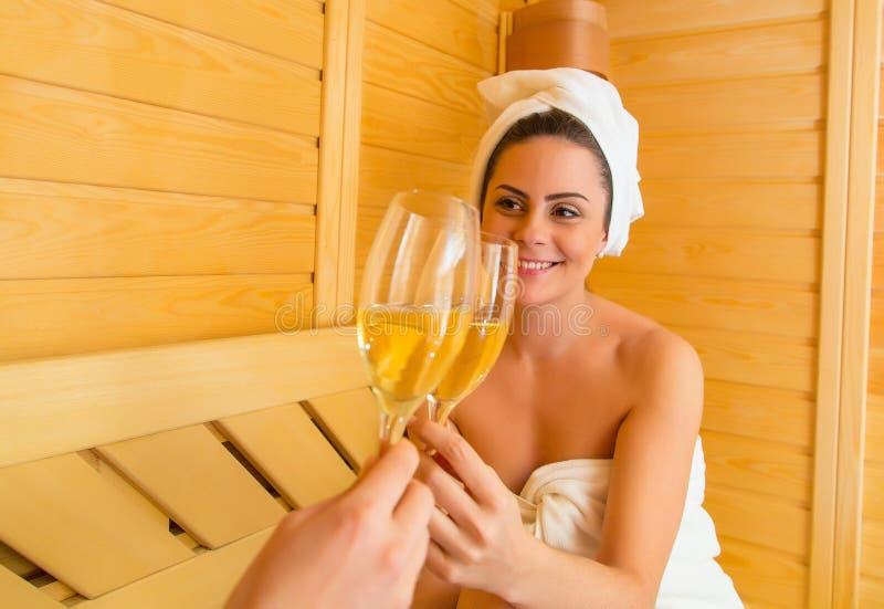 Świętować miłości przy sauna zdjęcie stock