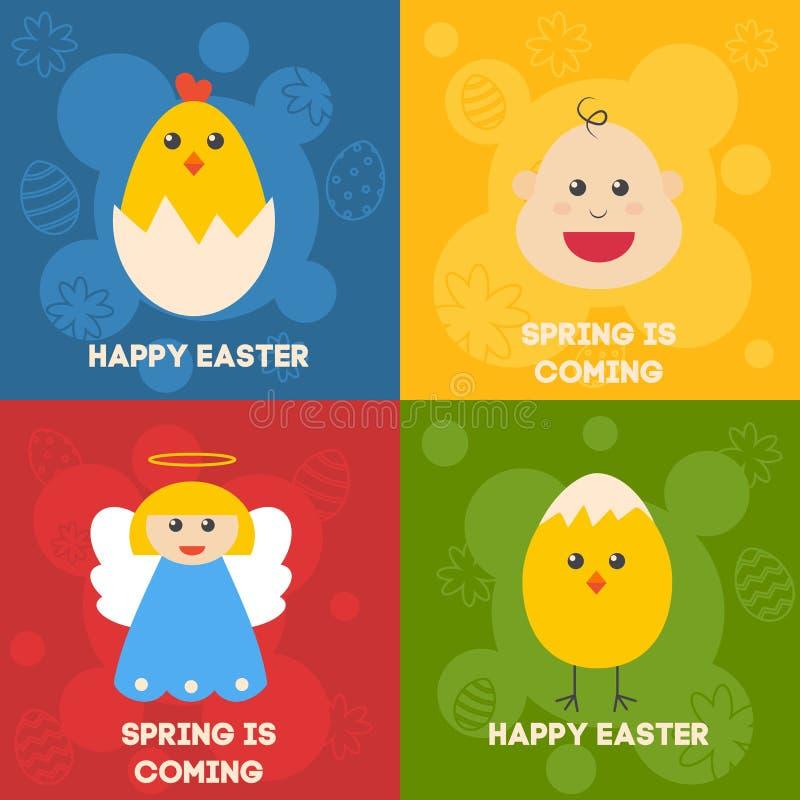Świętowania Easter ikony Mieszkanie projektujący przedmioty ustawiający Królik, ptaki, jajka, kwiaty i inni symbole wiosna, wekto royalty ilustracja