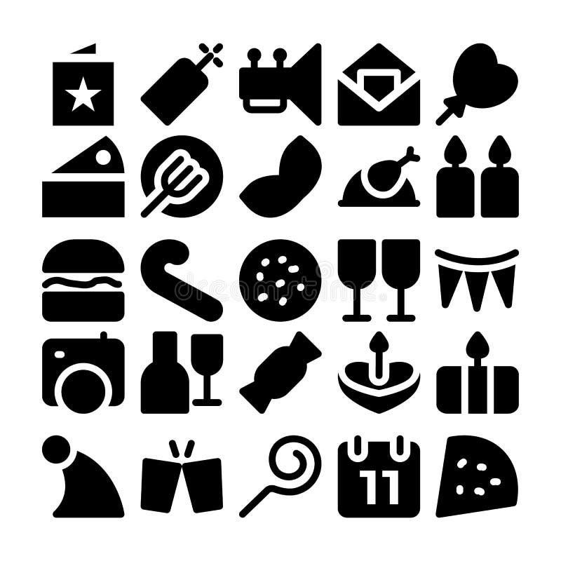 Świętowania i przyjęcia Wektorowe ikony 9 ilustracji