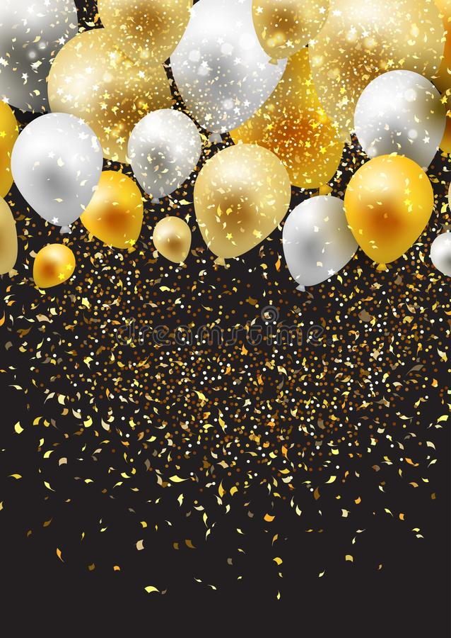 Świętowania tło z balonami i confetti royalty ilustracja