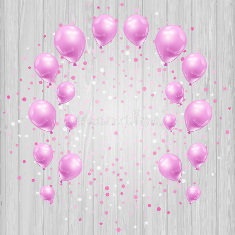 Świętowania tło z menchia confetti i balonami ilustracja wektor