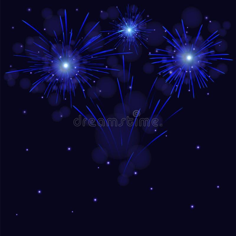 Świętowanie błyska błękitnych wektorowych fajerwerki nad gwiaździstym nocnym niebem ilustracja wektor