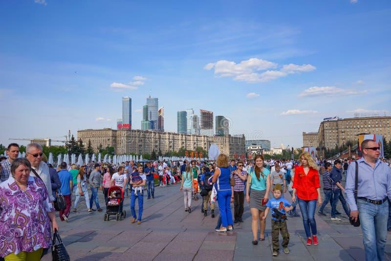 Świętowanie dnia zwycięstwo w centrum Moskwa w dobrej Pogodnej pogodzie obrazy stock
