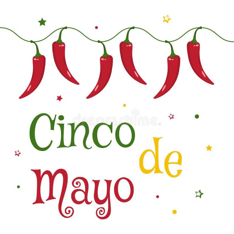 Świętowanie karta dla Cinco de Mayo Wakacje w Meksyk wektor royalty ilustracja