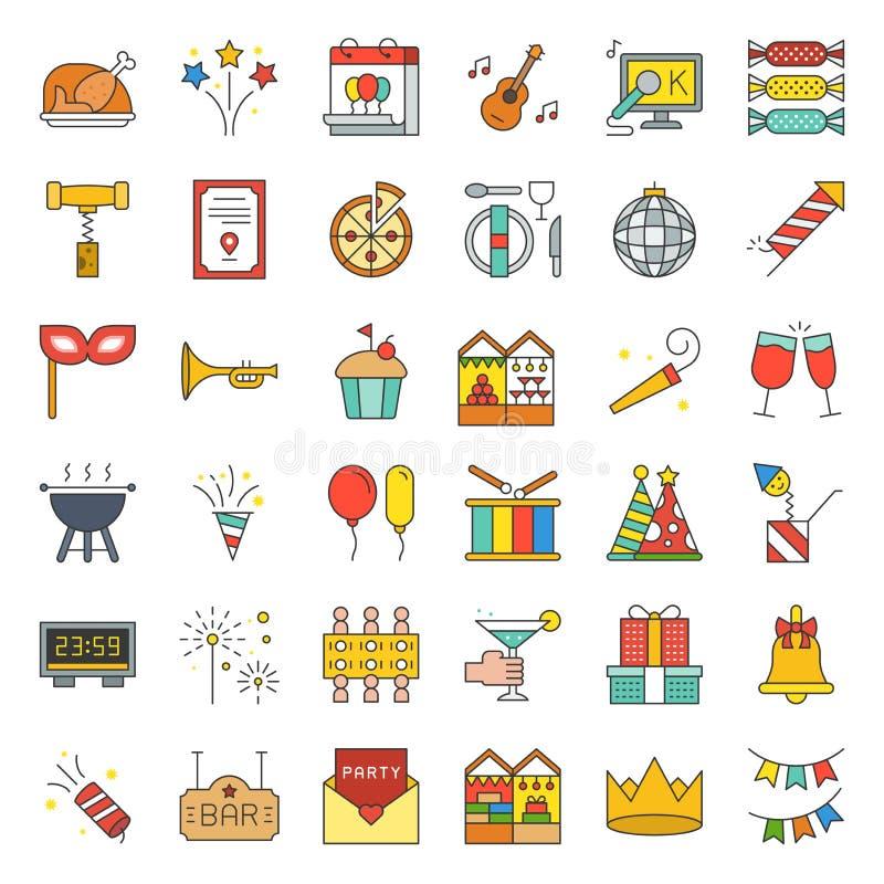 Świętowanie nowego roku przyjęcie gwiazdkowe i zabawia wydarzenie ikonę su ilustracji