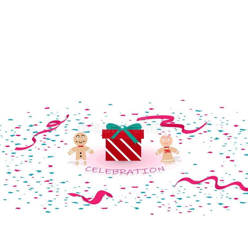 Świętowanie prezenta partyjna niespodzianka, papier rozprasza i wybuchający dowcip royalty ilustracja